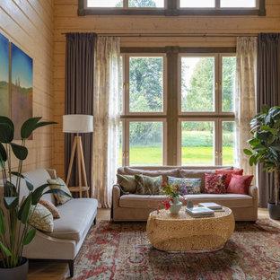Идея дизайна: гостиная комната в стиле рустика