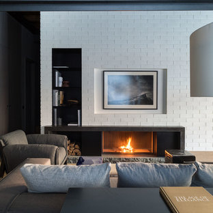 Example Of A Mid Sized Urban Open Concept And Formal Living Room Design In  Moscow