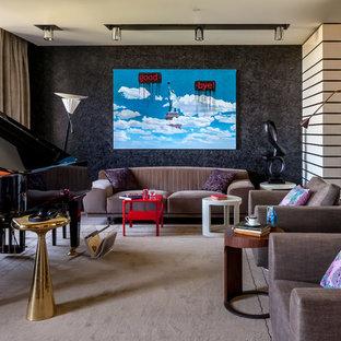 Idéer för ett modernt vardagsrum, med ett musikrum, svarta väggar och heltäckningsmatta