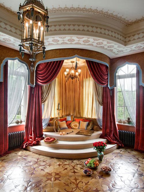 asiatische wohnzimmer mit roter wandfarbe ideen design. Black Bedroom Furniture Sets. Home Design Ideas