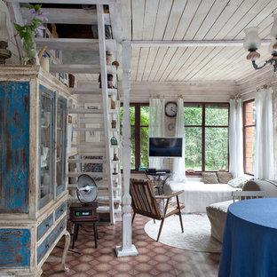 Exempel på ett shabby chic-inspirerat vardagsrum, med ett finrum, vita väggar och linoleumgolv