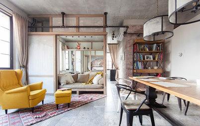 Houzzbesuch: Cleverer Raum im Raum für ein kleines Moskauer Fabrikloft