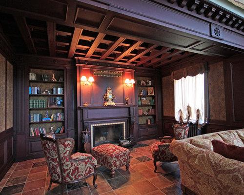 salon victorien avec un sol en carrelage de porcelaine photos et id es d co de salons. Black Bedroom Furniture Sets. Home Design Ideas