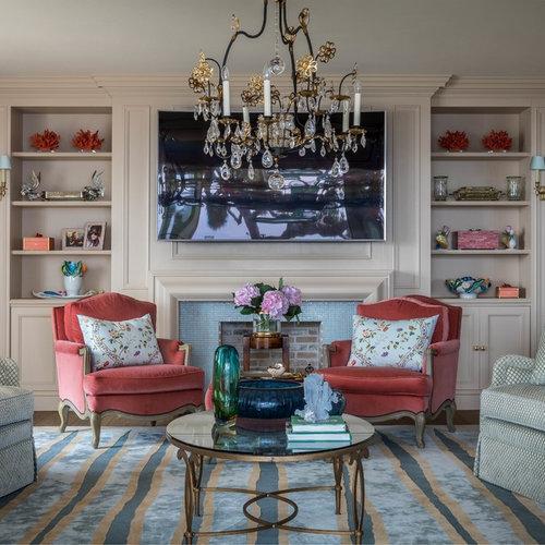 Salon classique avec un sol en bois foncé : Photos et idées ...
