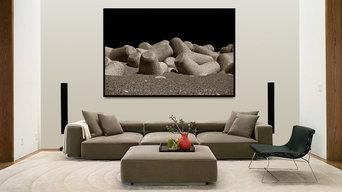 Визуализация принципа использования фотографии в интерьере гостиной