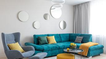 яркий интерьер квартиры 71 кв.м. в г. Калининграде