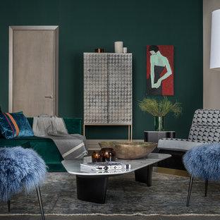 Foto di un soggiorno contemporaneo con pareti verdi