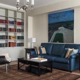 Свежая идея для дизайна: парадная гостиная комната в стиле современная классика с бежевыми стенами, светлым паркетным полом и бежевым полом - отличное фото интерьера