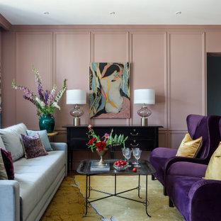 На фото: парадная, открытая гостиная комната в современном стиле с розовыми стенами без ТВ с
