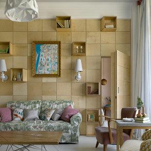 Пример оригинального дизайна: изолированная гостиная комната среднего размера в современном стиле с бетонным полом, белым полом и бежевыми стенами