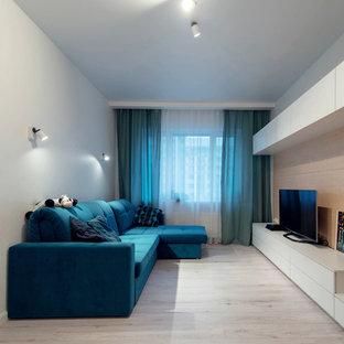 Diseño de salón cerrado, actual, pequeño, con paredes blancas, suelo laminado y televisor independiente