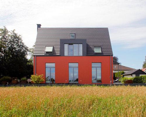 Superb Zweistöckiges, Rotes, Mittelgroßes Modernes Haus Mit Satteldach In Dortmund Amazing Pictures