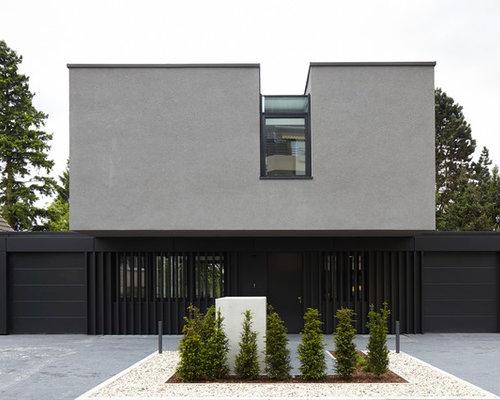 graue h user mit flachdach ideen f r die fassadengestaltung houzz. Black Bedroom Furniture Sets. Home Design Ideas