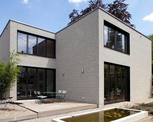 moderne h user mit steinfassade ideen design bilder houzz. Black Bedroom Furniture Sets. Home Design Ideas