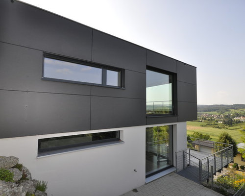 graue fassade ideen bilder houzz. Black Bedroom Furniture Sets. Home Design Ideas