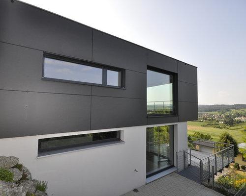 schwarzes haus und fassade mit mix fassade ideen f r die fassadengestaltung houzz. Black Bedroom Furniture Sets. Home Design Ideas