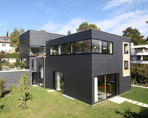 Split-Level Haus mit Steinfassade - Ideen, Design & Bilder