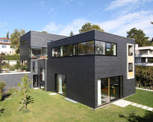 moderne h user und fassaden mit steinfassade ideen f r. Black Bedroom Furniture Sets. Home Design Ideas