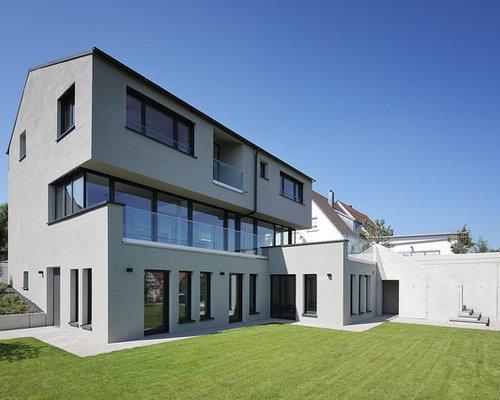 Fabulous Groes Drei Oder Graues Modernes Mit Putzfassade Und Satteldach  With Moderne Hauser Mit Satteldach