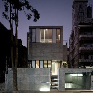 Réalisation d'une très grande façade de maison grise urbaine à un étage avec un toit plat.