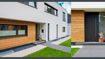 Haustür und Fassade - perfektes Zusammenspiel