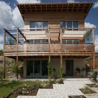 Cette image montre une façade de maison beige nordique de taille moyenne et à deux étages et plus avec un toit en appentis et un toit en tuile.