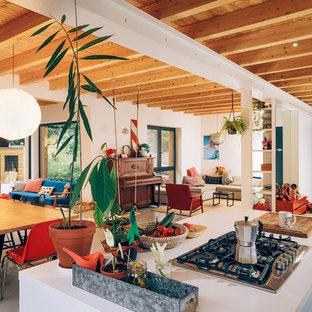 Стильный дизайн: огромный, двухэтажный, деревянный, коричневый дуплекс с односкатной крышей - последний тренд