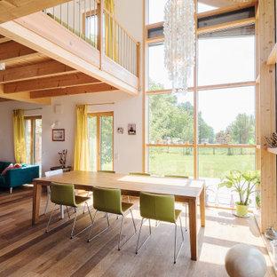 ハンブルクのコンテンポラリースタイルのおしゃれな家の外観 (木材サイディング、茶色い外壁、切妻屋根、戸建、瓦屋根) の写真