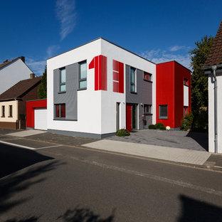 Geräumiges, Zweistöckiges, Mehrfarbiges Modernes Einfamilienhaus mit Putzfassade und Flachdach in Sonstige