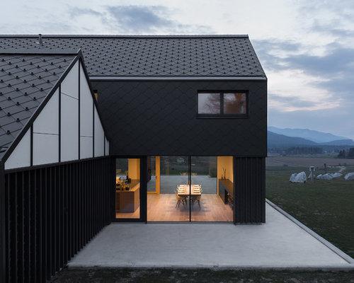 schwarze h user und fassaden mit satteldach ideen f r die. Black Bedroom Furniture Sets. Home Design Ideas