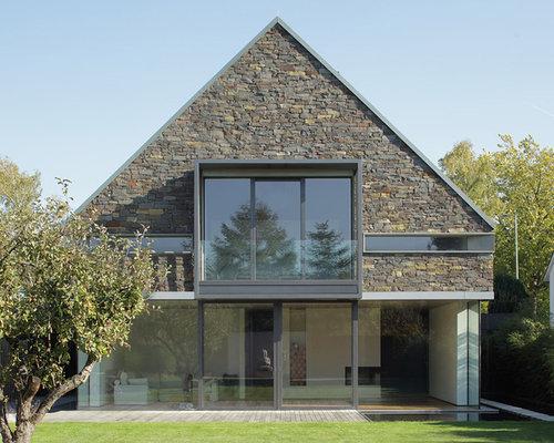 Modernes Haus Und Fassade Mit Steinfassade: Ideen Für Die  Fassadengestaltung HOUZZ