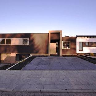 Diseño de fachada de casa pareada negra, actual, grande, de una planta, con revestimiento de estuco y tejado plano