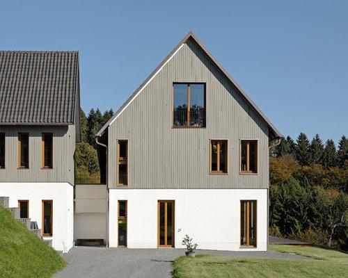 landhausstil haus mit mix fassade ideen design bilder. Black Bedroom Furniture Sets. Home Design Ideas