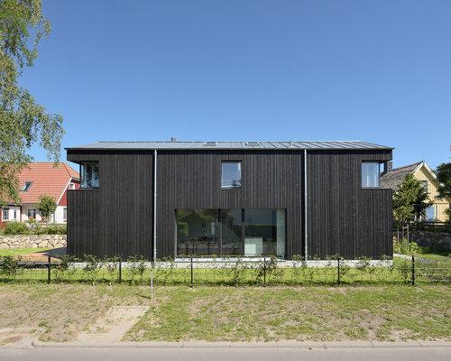 schwarze h user und fassaden mit holzfassade ideen f r. Black Bedroom Furniture Sets. Home Design Ideas