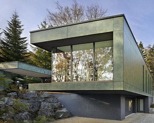 Modernes haus und fassade mit metallfassade ideen für die