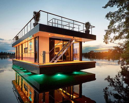 Inspiration für einstöckige weiße große moderne häuser mit