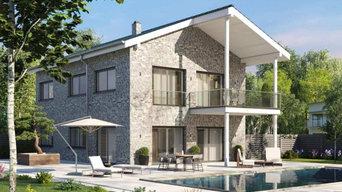Sella | Stadtvilla mit Satteldach, Balkon und Klinkerfassade