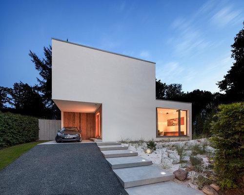 moderne h user mit putzfassade ideen f r die haus fassadengestaltung houzz. Black Bedroom Furniture Sets. Home Design Ideas