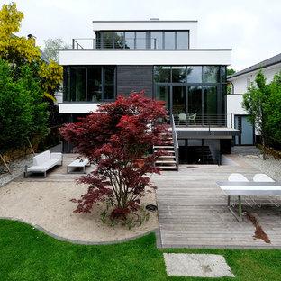 Weißes, Drei- oder mehrstöckiges Modernes Haus mit Flachdach und Mix-Fassade in Hamburg
