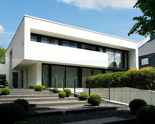 h user und fassaden mit flachem dach und putzfassade ideen f r die haus fassadengestaltung. Black Bedroom Furniture Sets. Home Design Ideas