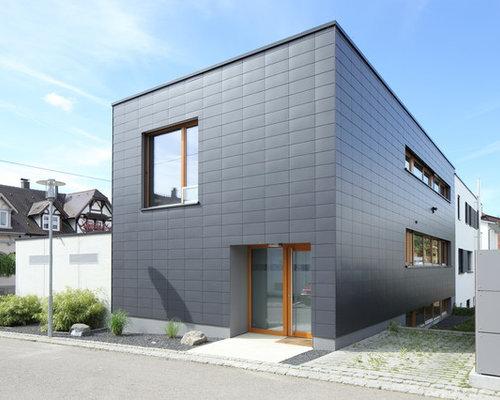 schwarze h user und fassaden mit metallfassade ideen f r die haus fassadengestaltung houzz. Black Bedroom Furniture Sets. Home Design Ideas