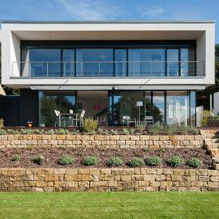 Diseño de fachada blanca, moderna, de tamaño medio, de dos plantas, con tejado plano