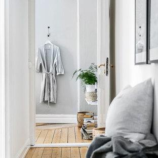 Idéer för att renovera en minimalistisk hall, med grå väggar och ljust trägolv