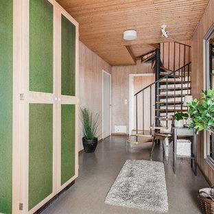 Réalisation d'un couloir vintage de taille moyenne avec un sol en linoléum et un sol gris.