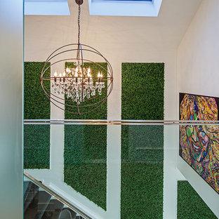 トロントのエクレクティックスタイルのおしゃれな廊下 (白い壁、無垢フローリング) の写真