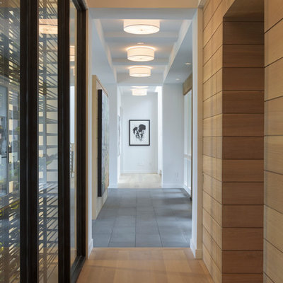 Example of a large minimalist light wood floor hallway design in Minneapolis with white walls