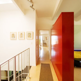 Example of a trendy hallway design in San Francisco with white walls