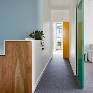 This is an example of a mid-sized scandinavian hallway in Melbourne with blue walls, carpet and grey floor.