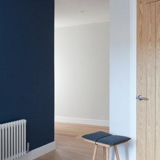 ウィルトシャーの中サイズのコンテンポラリースタイルのおしゃれな廊下 (白い壁、塗装フローリング、ベージュの床) の写真