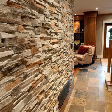 Accent Wall, Built in Wood Bookcase, Slate Floors